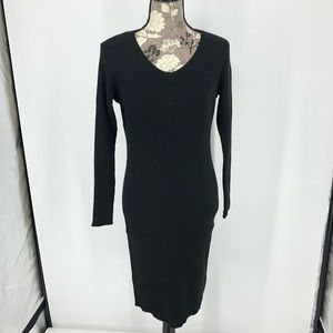 Charlotte Russe Stretch Black Sweater Midi Dress